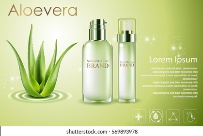 Vector illustration of Aloe vera cosmetic ads, green spray bottles with aloe vera