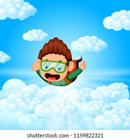 vector illustration of Alone skydiver is in the free fall