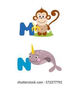 A vector illustration of alphabet animals from M to N. Vector illustration for kids education, foreign language study.