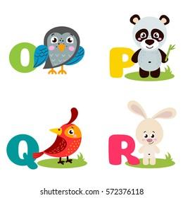 A vector illustration of alphabet animals from O to R. Vector illustration for kids education, foreign language study.
