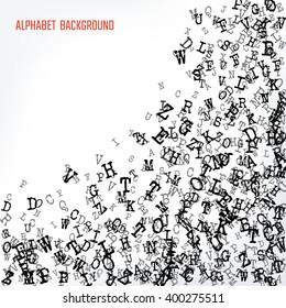 Vector Illustration of Alphabet Background for Design, Website, Banner. Letters ABC  Element Template in black. Scattered Symbol Pattern. Copyright day