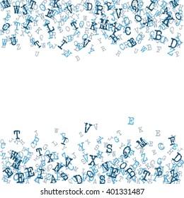 Vector Illustration of Alphabet Background for Design, Website, Banner. Letters ABC  Element Template in blue Scattered Symbol Pattern