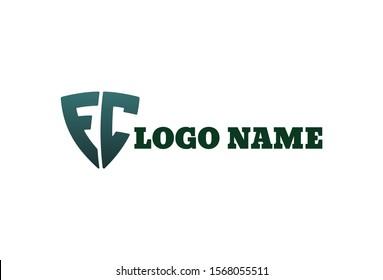 Vector illustration of alphabet FC logo. Isolated on white background.