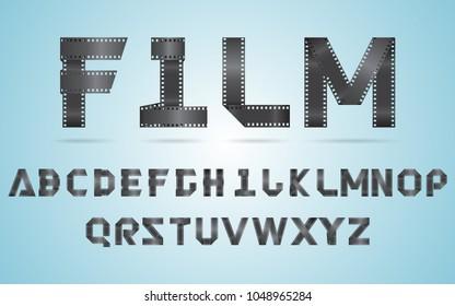 Vector illustration alphabet folded film strip