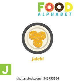Vector Illustration of alphabet food. J Letter For Jalebi