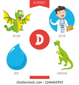 Vector Illustration Of Alphabet Letter D And Pictures