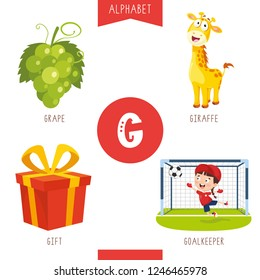 Vector Illustration Of Alphabet Letter G And Pictures