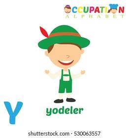 Vector Illustration of alphabet occupation. Y letter for Yodeler