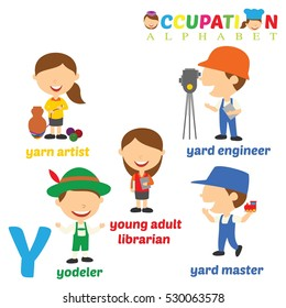 Vector Illustration of alphabet occupation with Y letter.