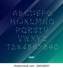 Vector illustration of the alphabet . Set of letters . Font of the constellations . The night sky. Abstract background.