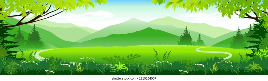Vector Illustration. Alpine meadows.