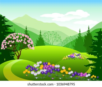 Vector Illustration. Alpine meadows. Spring landscape.