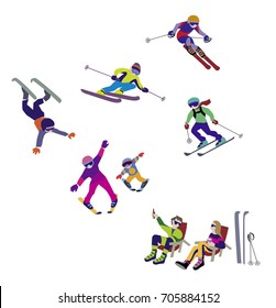 Vector illustration of Alpine Skiing, winter sport. Characters set of vector simple comic drawing.