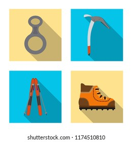 Vector illustration of alpinism and peak logo. Collection of alpinism and camp vector icon for stock.