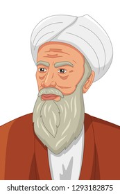 A vector illustration of Al-Razi Muslim Philosopher