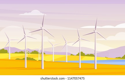 Vector illustration of alternative energy resource with rotation windmills, wind turbines, field, mountains, lake, bush, sky. Summer landscape and windmill elements as symbol of ecological power.