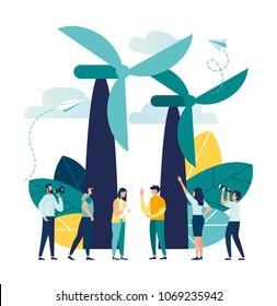 vector illustration. alternative renewable energy. wind energy, technological windmills. chart design environmental resource extraction