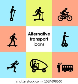 vector illustration of alternative transport icons set with electronic personal transportation devices symbols