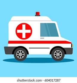 Vector illustration ambulance car. Ambulance auto paramedic emergency. Ambulance vehicle medical evacuation.