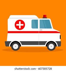 Vector illustration ambulance car. Ambulance auto paramedic emergency. Ambulance vehicle medical evacuation. Cartoon ambulance silhouette.