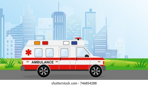 Vector illustration ambulance car in the city. Cityscape on background in light blue colors. Auto paramedic emergency in flat style.