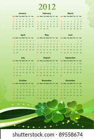 Vector illustration of American 2012 calendar for St. Patrick's Day, starting from Sundays
