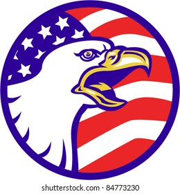 vector illustration of an American Bald eagle screaming with United States stars and stripe flag set inside circle
