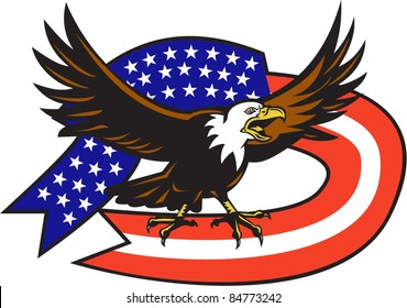 vector illustration of an American Bald eagle screaming with United States stars and stripe flag on isolated white background