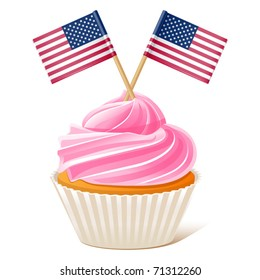 vector illustration of American cupcake. Flag toothpick. Fourth of July