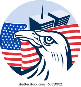 vector  illustration of an American eagle flag and twin tower building set inside circle isolated on white