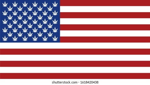 Vector illustration of American flag replaced the stars with the marijuana leaves