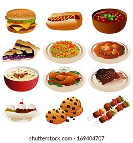 A vector illustration of American food icons