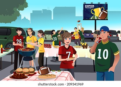 A vector illustration of American football fans having a tailgate party