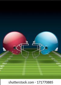 A vector illustration of an American Football field and helmets. EPS 10. File contains transparencies. Gradient mesh only used in the shadows below the helmets on the field. File is layered.
