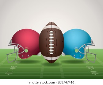A vector illustration of an American Football field, football, and helmets. Vector EPS 10. EPS file contains transparencies. Gradient mesh used in the shadows below the helmets and ball on the field.