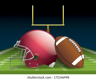 Vector illustration of an american football helmet, ball, and field. EPS 10. File contains transparencies and gradient mesh.