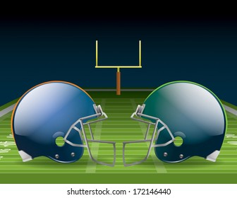 Vector illustration of american football helmets on a field. EPS 10. File contains transparencies and gradient mesh.