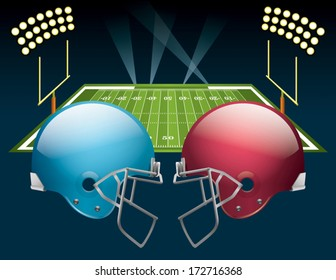 Vector illustration of american football helmets on a field. Vector EPS 10. EPS file contains transparencies.