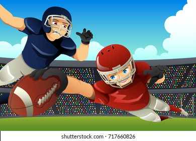A vector illustration of American Football Players Playing Football in a Stadium