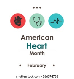 vector illustration / American Heart Month