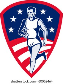 vector illustration of an American Marathon athlete sports runner with stars and stripes and set in shield done in retro style.