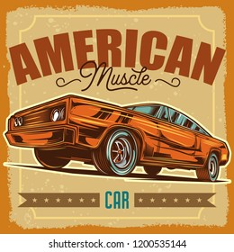 Vector illustration of American Muscle car.