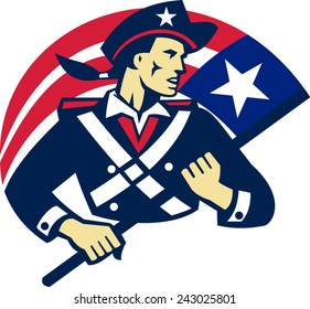 vector illustration of an american patriot minuteman militia revolutionary soldier holding stars and stripes flag of united states done in retro style.