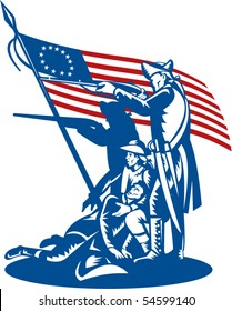vector illustration of American patriots fighting with Betsy Ross flag isolated on white.