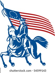 vector illustration of an American revolutionary general a riding horse with Betsy Ross Flag