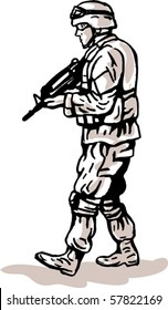 vector illustration of an american US military serviceman with rifle