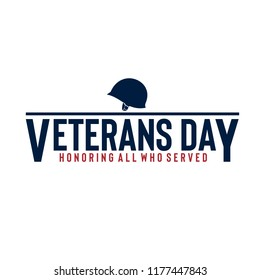 Vector illustration of American veterans day, 11th November with simple typography and soldier's helmet
