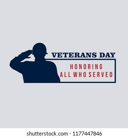 Vector illustration of American veterans day, 11th November with silhouette of saluting soldier