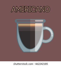 The vector illustration of americano coffee on brown background.
