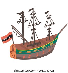 Vector Illustration of Amsterdam boat. Vector image isolated on a white background.